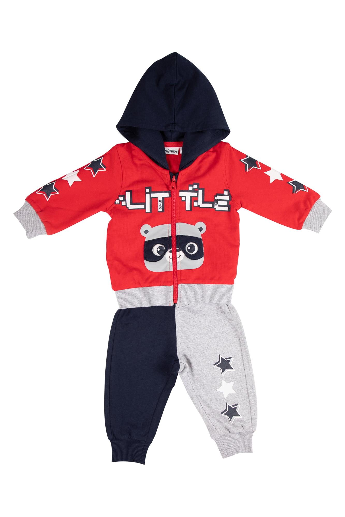 Tuta neonato rossa/blu con zip e cappuccio - Pantalone grigio e blu