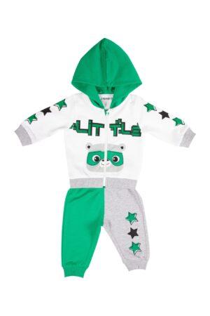 Tuta neonato bianca/verde con zip e cappuccio - Pantalone grigio e verde