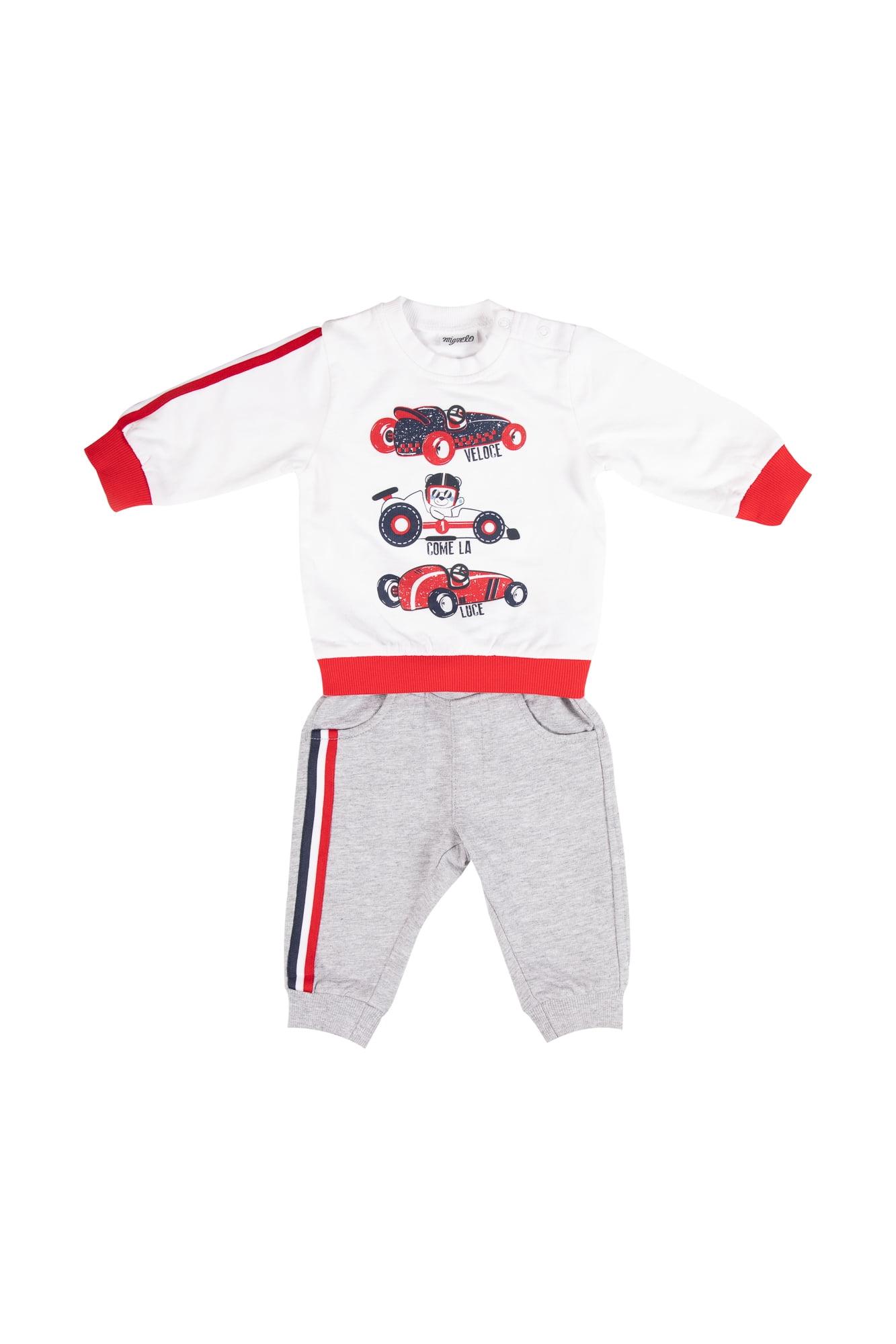Tuta neonato bianco/grigio girocollo - Pantalone Grigio con tasche anteriori e posteriori