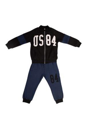Tuta felpata maschio Dodipetto nero con zip collo alla coreana Pantalone Blu