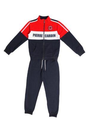 Tuta maschio Pierre Cardin blu/rosso/bianco con zip collo alla coreana Pantalone Blu