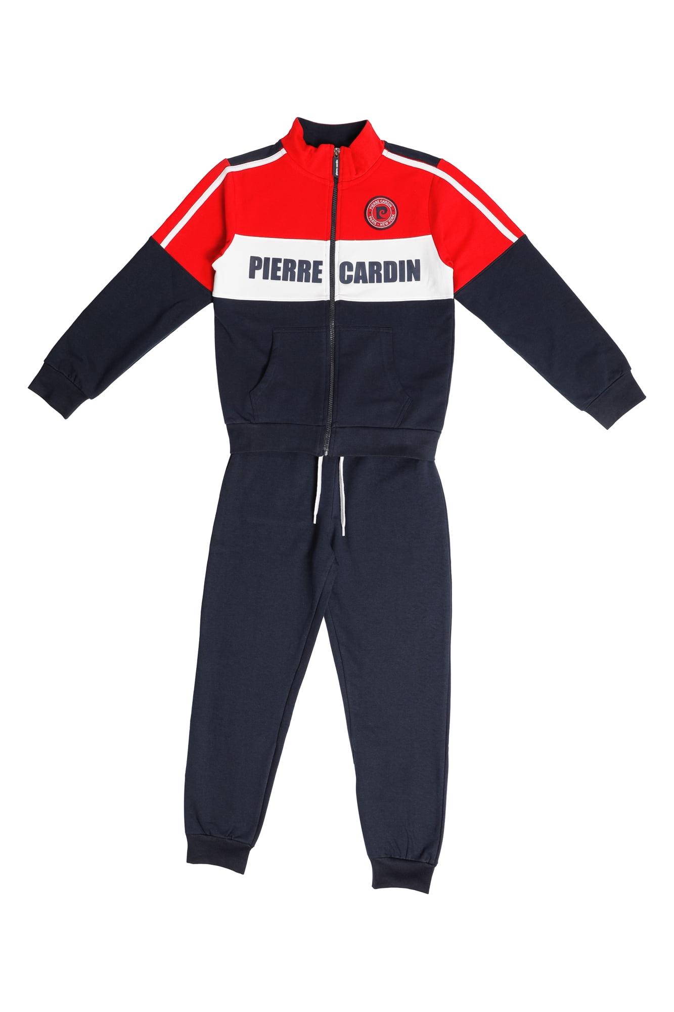 Tuta maschio P.C. blu/rosso/bianco con zip collo alla coreana Pantalone Blu