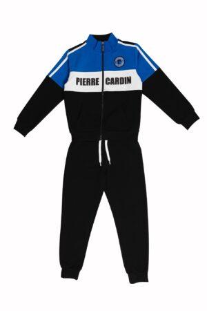 Tuta maschio Pierre Cardin nero/royal/Bianco con zip collo alla coreana Pantalone Nero