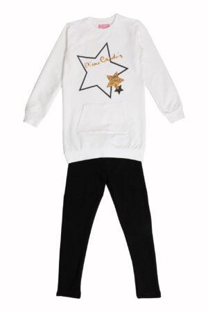 Tuta ragazza Pierre Cardin milk maxi maglia girocollo motivo oro Pantalone Leggings nero