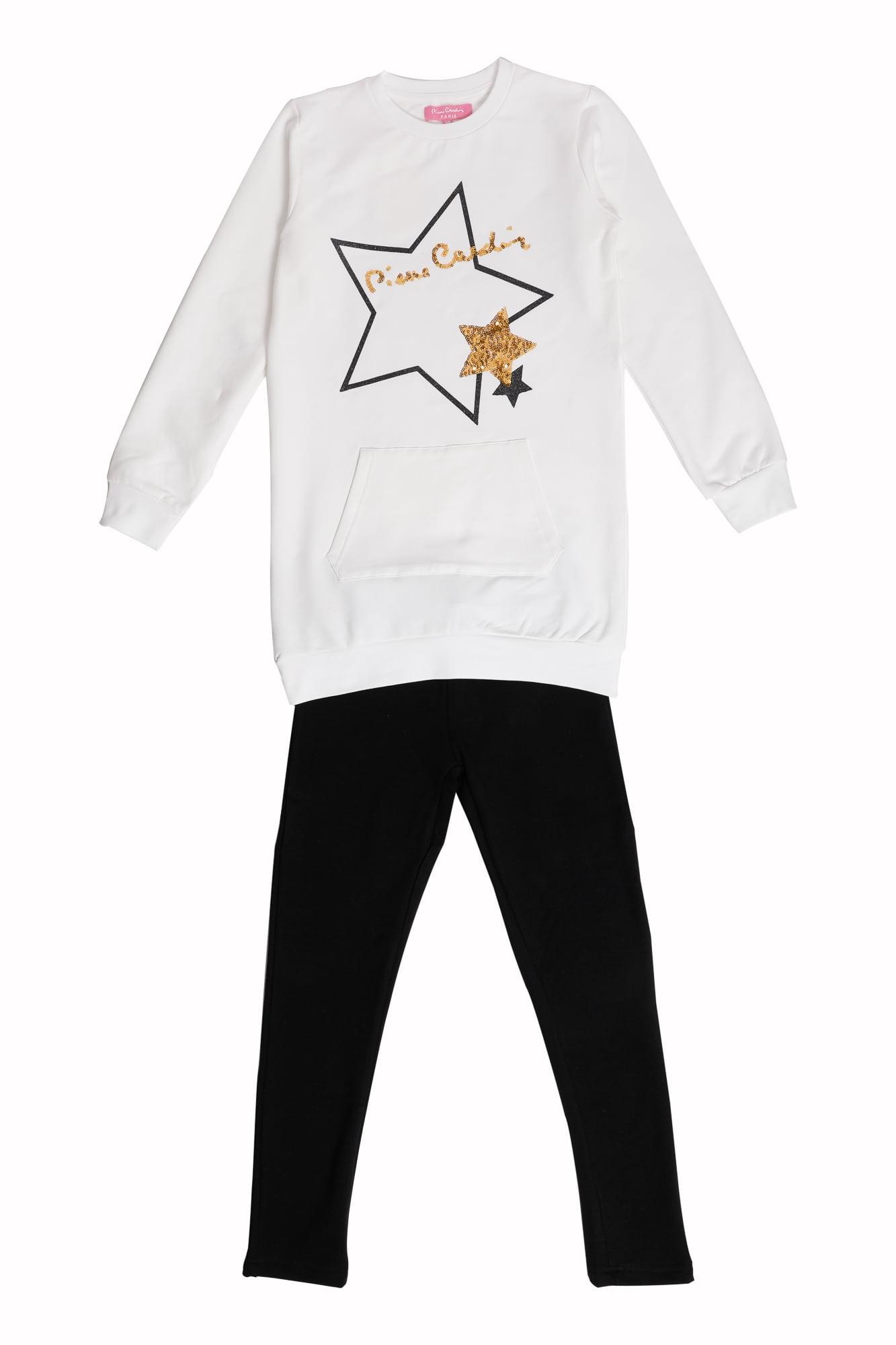 Tuta ragazza P.C. milk maxi maglia girocollo motivo oro Pantalone Leggings nero