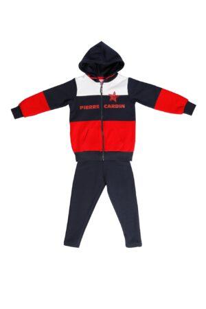 Tuta Femmina Blu-Rosso-Bianco con zip e cappuccio Pantalone Blu