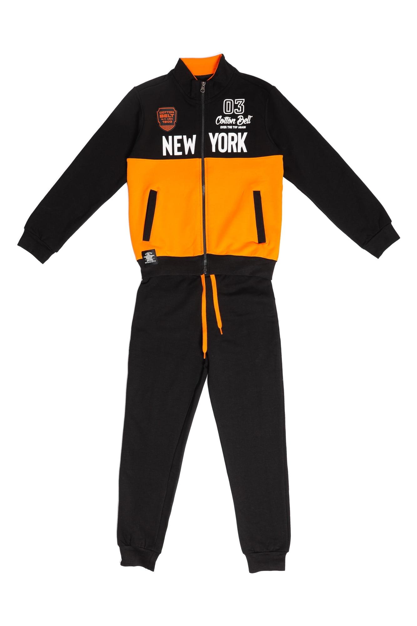 Tuta felpata maschio Cotton Belt arancio/nero con zip e collo alla coreana Pantalone Nero