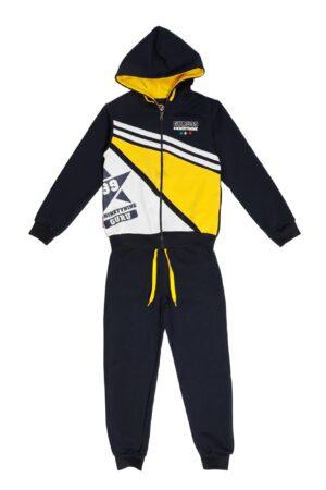 Tuta maschio Guru blu motivo giallo e bianco con zip e cappuccio Pantalone blu