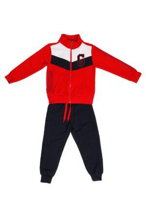 Tuta maschio Guru rosso motivo blu e bianco con zip Pantalone blu