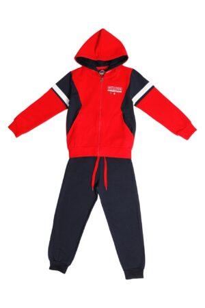 Tuta maschio Guru rosso/blu con zip e cappuccio  Pantalone Blu