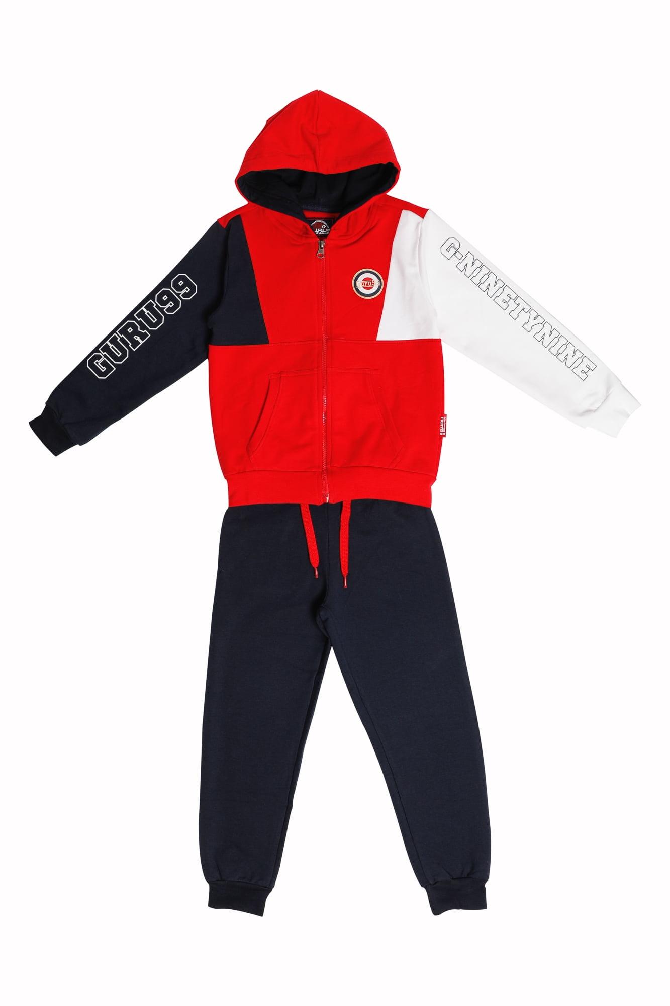 Tuta maschio Guru  rosso/bianco/blu con zip e capuccio Pantalone Blu