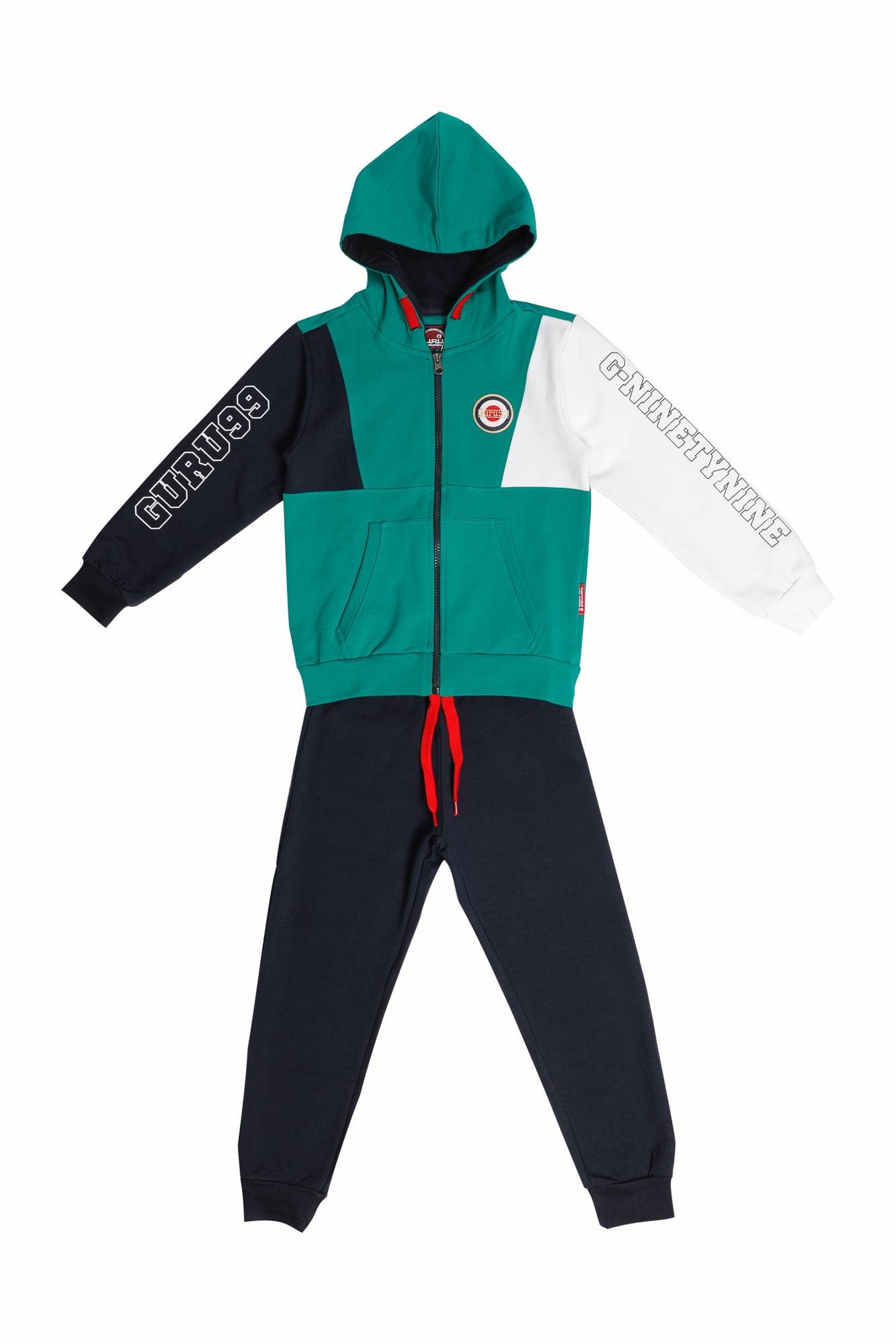 Tuta maschio Guru verde/bianco/blu con zip e cappuccio Pantalone Blu