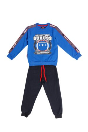 Tuta maschio Guru blu elettrico girocollo  Pantalone Blu