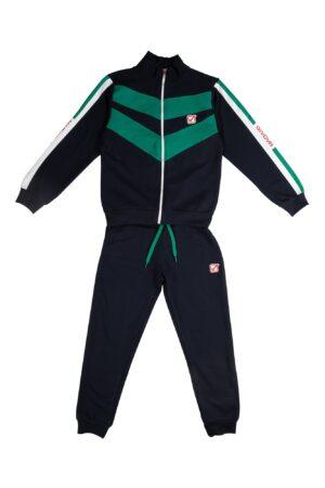 Tuta felpata maschio Givova blu/verde con zip collo alla coreana Pantalone blu