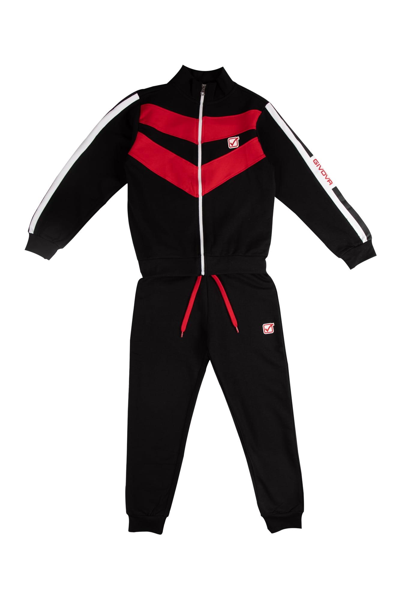 Tuta felpata maschio Givova nero/rosso con zip collo alla coreana Pantalone nero