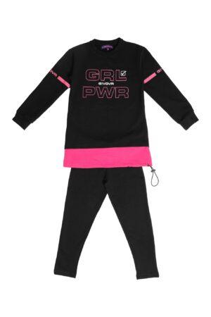 Tuta bambina Givova nera/fuxia maximaglia girocollo Pantalone Leggings nero