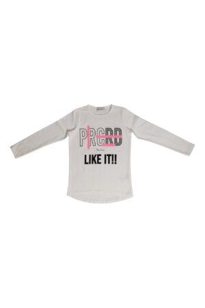Maglietta ragazza Pierre Cardin bianco/fuxia fluo manica lunga