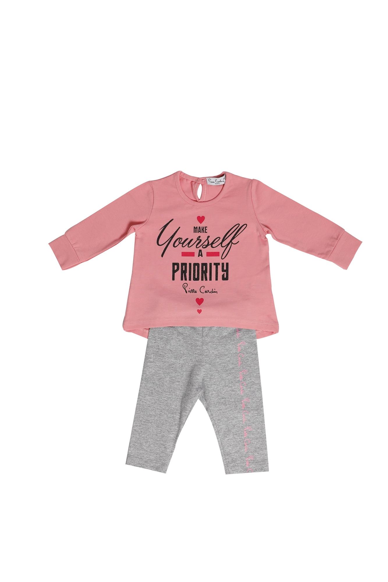 Completo neonata Pierre Cardin rosa/grigio maglietta girocollo manica lunga - Leggings grigio