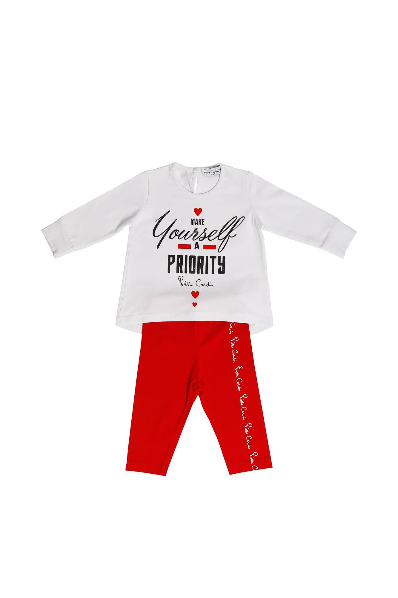 Completo neonata Pierre Cardin bianco/rosso maglietta girocollo manica lunga - Leggings rosso
