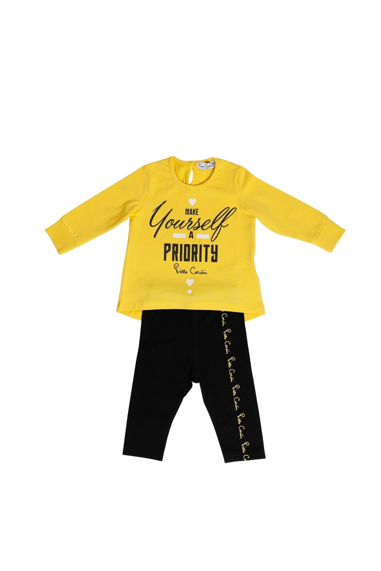 Completo neonata Pierre Cardin giallo/nero maglietta girocollo manica lunga - Leggings nero