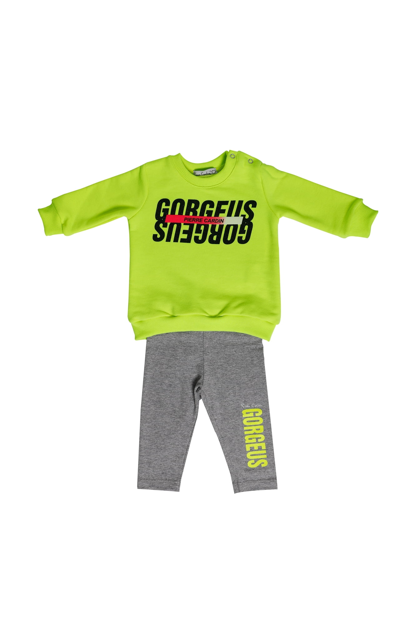 Completo neonata Pierre Cardin giallo fluo felpa girocollo - Leggings grigo