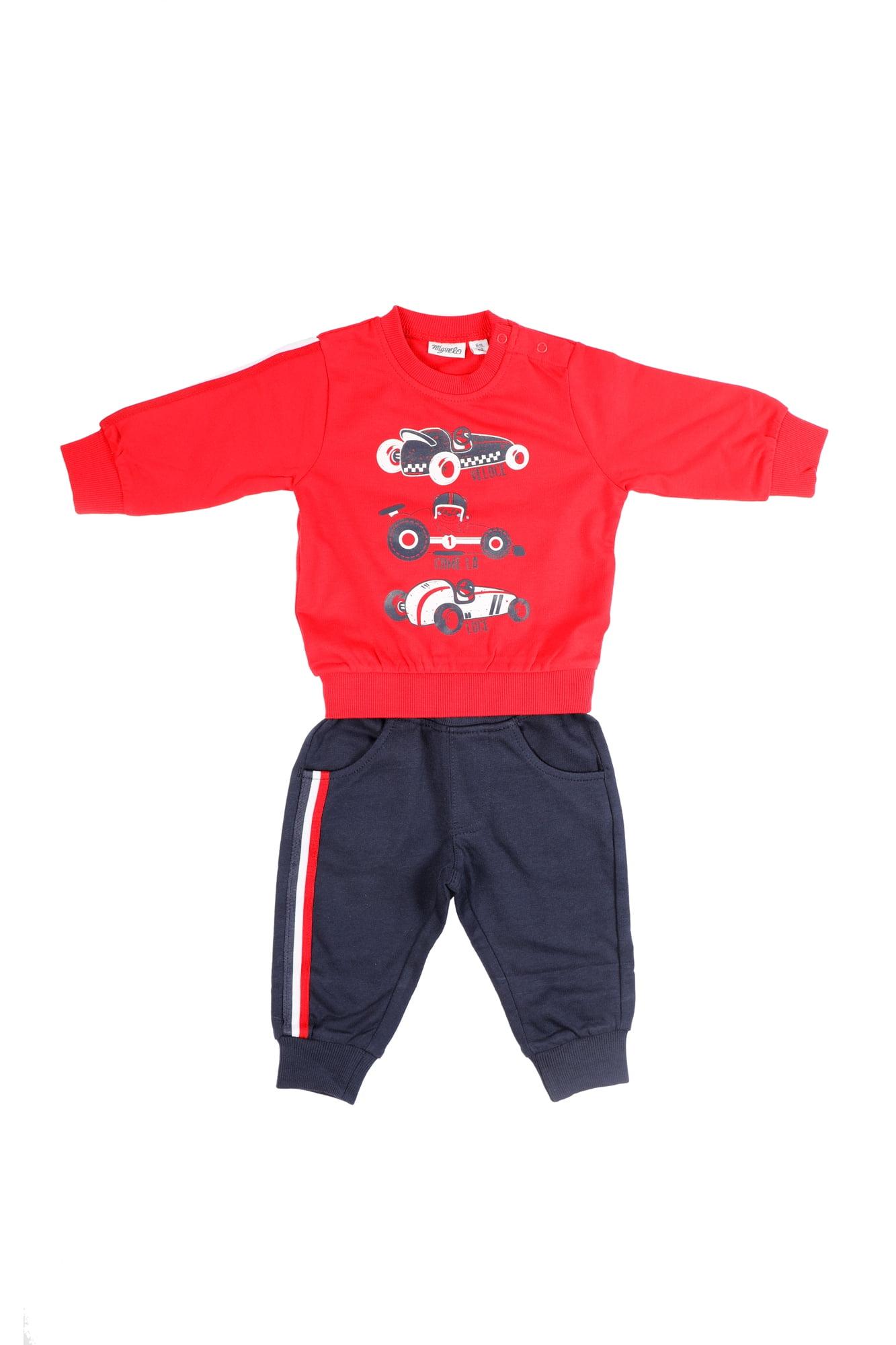 Tuta neonato rossa/blu girocollo - Pantalone Blu con tasche anteriori e posteriori