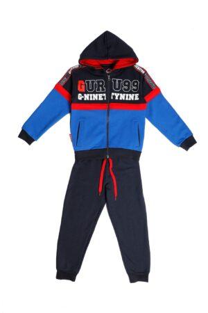 Tuta maschio Guru Royal/blu/roosso con zip e cappuccio Pantalone Blu
