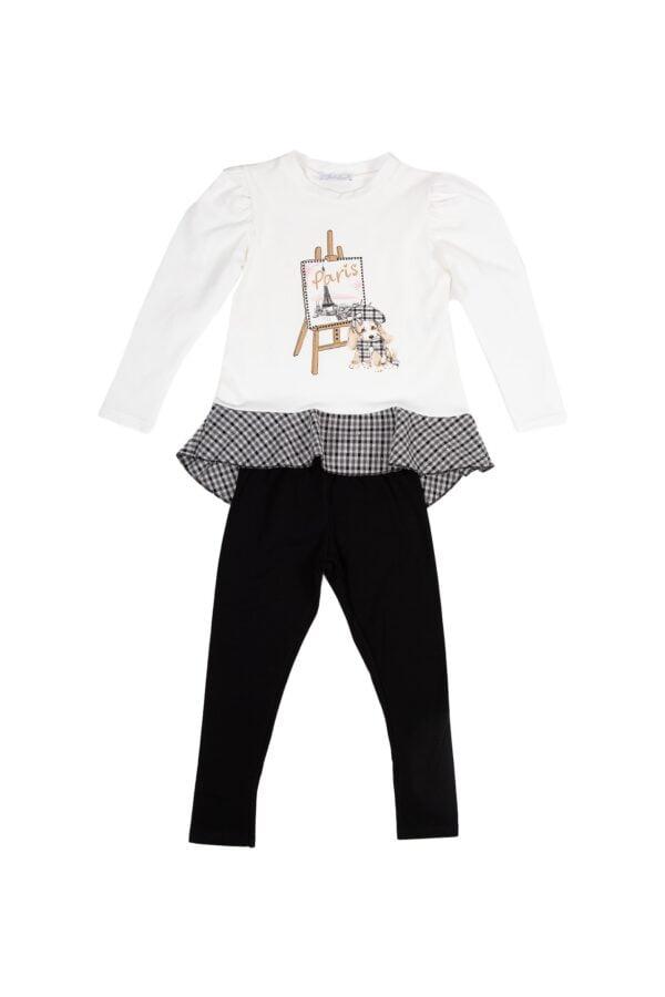 Completino Doceluna bambina maglietta felpata bianca - leggings felpato nero