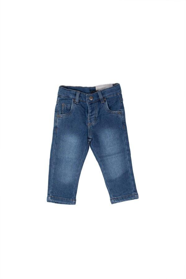 Pantalone jeans elasticizzati con elastico e bottone alla vita