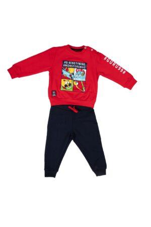 Tuta Guru bambino Rosso e blu in cotone felpato