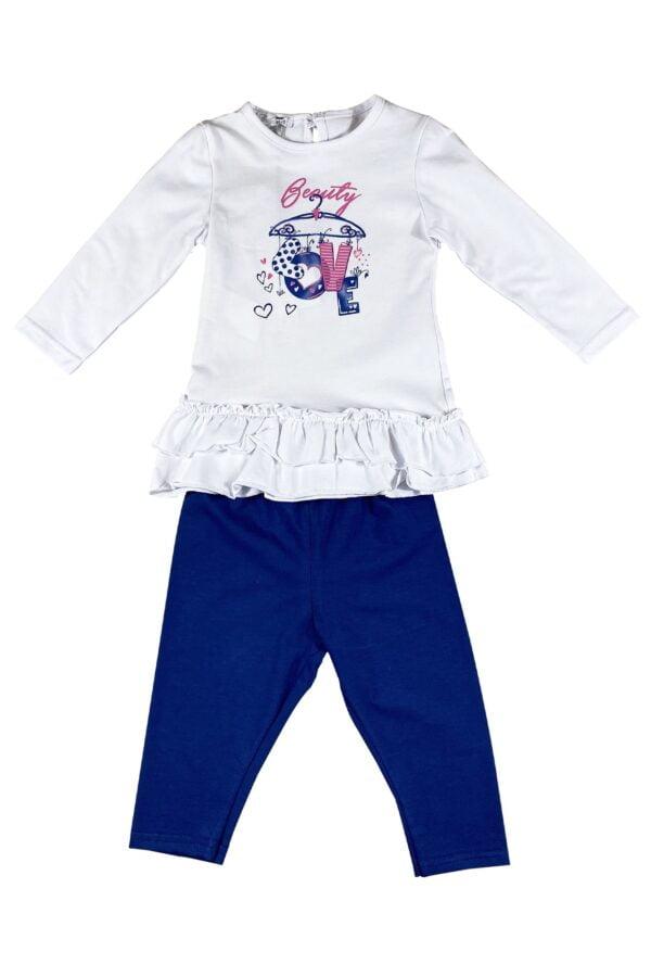 Completino neonata Bianco e Blu in cotone